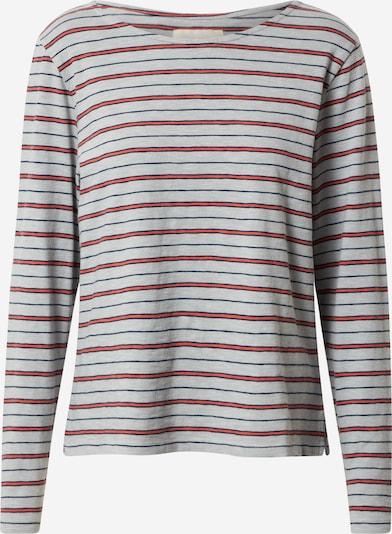 Folk T-shirt en bleu / gris / rouge, Vue avec produit