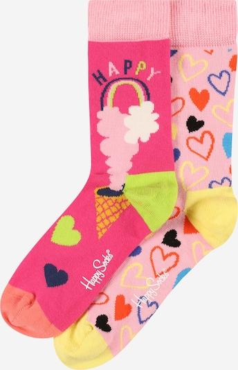 Happy Socks Sokken 'Happy Love' in de kleur Neongeel / Neongroen / Neonroze / Lichtroze / Zwart, Productweergave