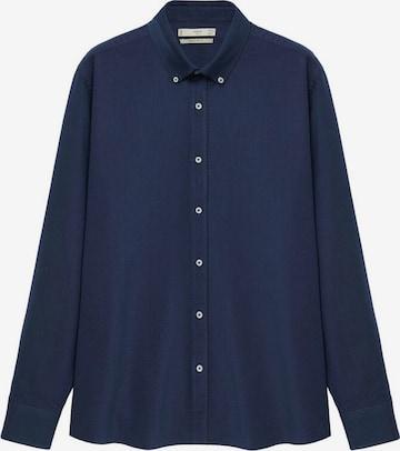 MANGO MAN Button Up Shirt 'Oxford' in Blue