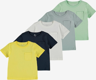 NAME IT T-Shirt 'Sazu' in blau / gelb / grau / pastellgrün / weiß, Produktansicht