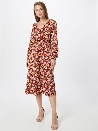 VILA Kleid 'Ladee' in goldgelb / weinrot / weiß, Modelansicht