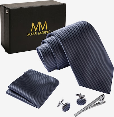 Massi Morino Krawatte Krawattenbox Set in grau, Produktansicht