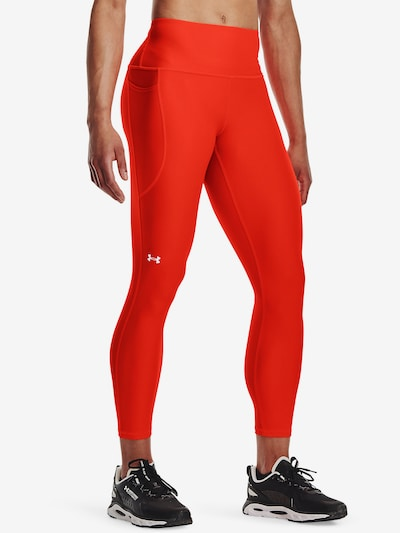 UNDER ARMOUR Workout Pants in Fire red / White: Frontal view