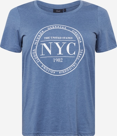 Zizzi T-Shirt 'EFRANJA' in blaumeliert / weiß, Produktansicht