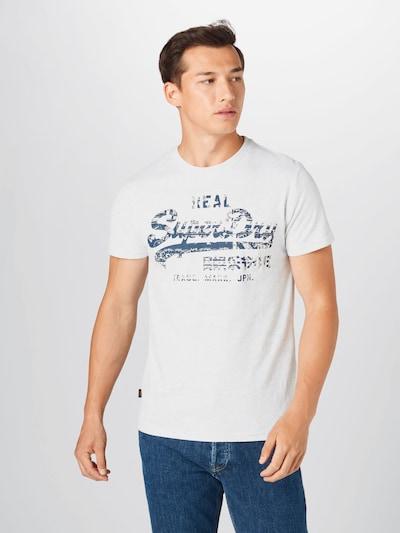 Superdry T-Shirt en marine / blanc chiné, Vue avec modèle
