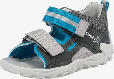 SUPERFIT Zapatos abiertos 'Flow' en azul cielo / gris claro / gris oscuro, Vista del producto