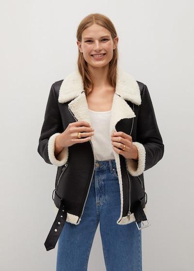 MANGO Mantel 'Adri' in schwarz / wollweiß, Modelansicht