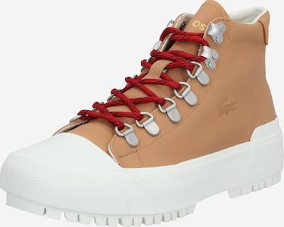 LACOSTE Baskets hautes 'Gripshot' en noisette / rouge foncé / blanc, Vue avec produit