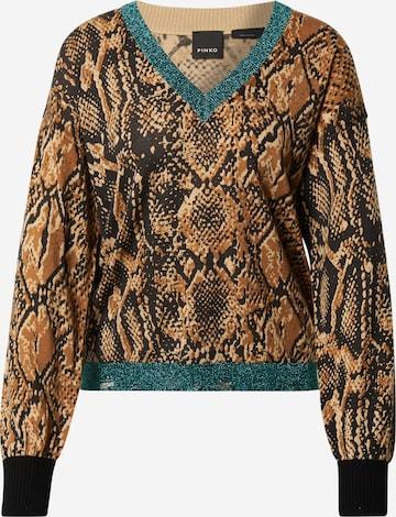 PINKO Shirt 'LAMBRUSCO MAGLIA LANA ST.RETTILE' in Brown