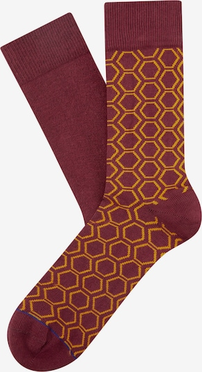 Cheerio Socken 'HEXAWHAT' in goldgelb / bordeaux, Produktansicht