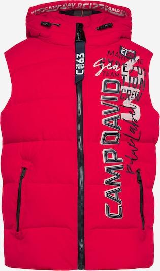 CAMP DAVID Steppweste mit Kapuze und Artwork in rot, Produktansicht