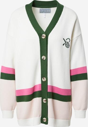 Résumé Knit cardigan 'Halba' in Green / Pink / Pastel pink / White, Item view