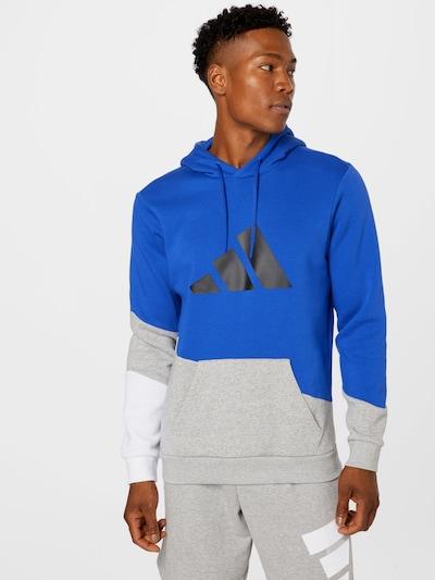 ADIDAS PERFORMANCE Спортен блузон с качулка в кралско синьо / сиво / черно: Изглед отпред