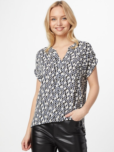 COMMA Blouse in Dusty blue / Black / White: Frontal view