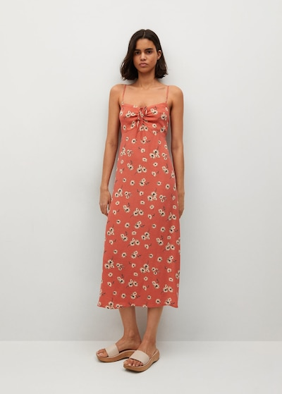MANGO Kleid 'Illeta' in beige / braun / orange, Modelansicht