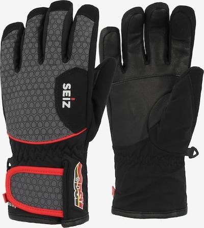 Seiz Handschuhe in grau / rot / schwarz, Produktansicht