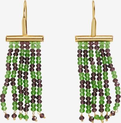 MANGO Boucles d'oreilles en or / vert / violet foncé, Vue avec produit