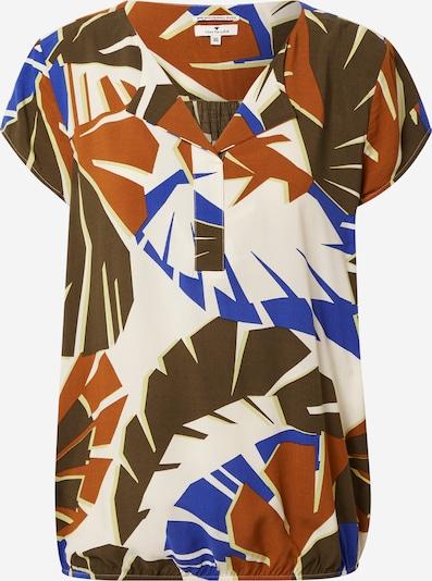 TOM TAILOR Bluse in blau / braun / dunkelgrün / weiß, Produktansicht