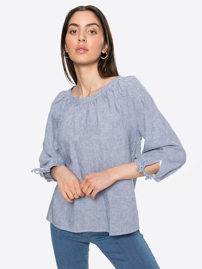 s.Oliver Blouse in de kleur Smoky blue / Wit, Modelweergave