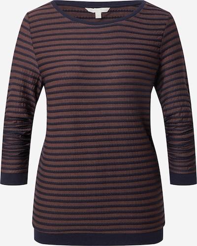 TOM TAILOR DENIM Sweatshirt in dunkelblau / dunkelbraun / weiß, Produktansicht