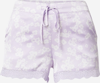 ETAM Pantalon de pyjama 'NESS' en violet pastel / blanc, Vue avec produit