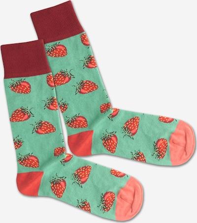 Kojinės 'Strawberry Field' iš DillySocks , spalva - žalia / rožių spalva / raudona, Prekių apžvalga