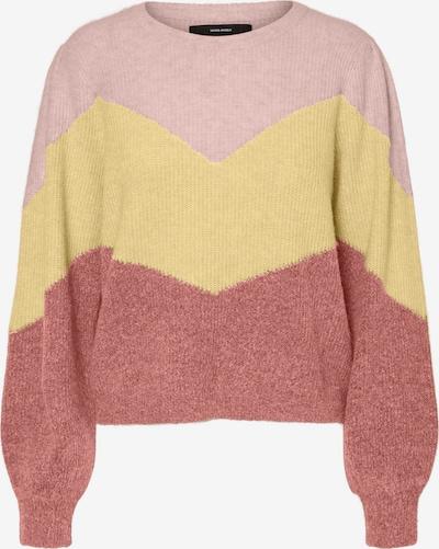 VERO MODA Pull-over 'Plazarib' en jaune pastel / rose pastel / rouge pastel, Vue avec produit