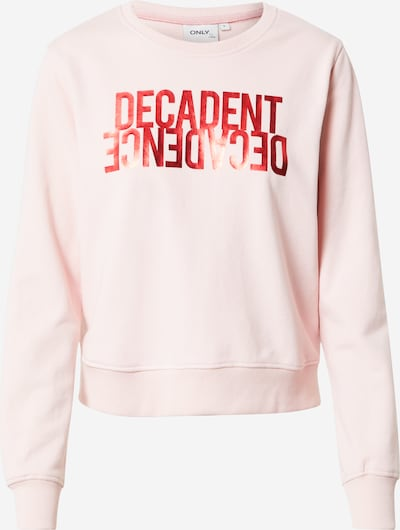 ONLY Sweatshirt 'VILLA' in pastel pink / red: Frontal view