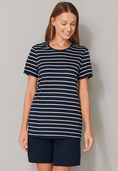 SCHIESSER Pyjama in dunkelblau / weiß: Frontalansicht