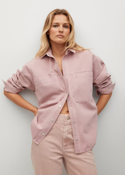 MANGO Bluse in pastelllila, Modelansicht