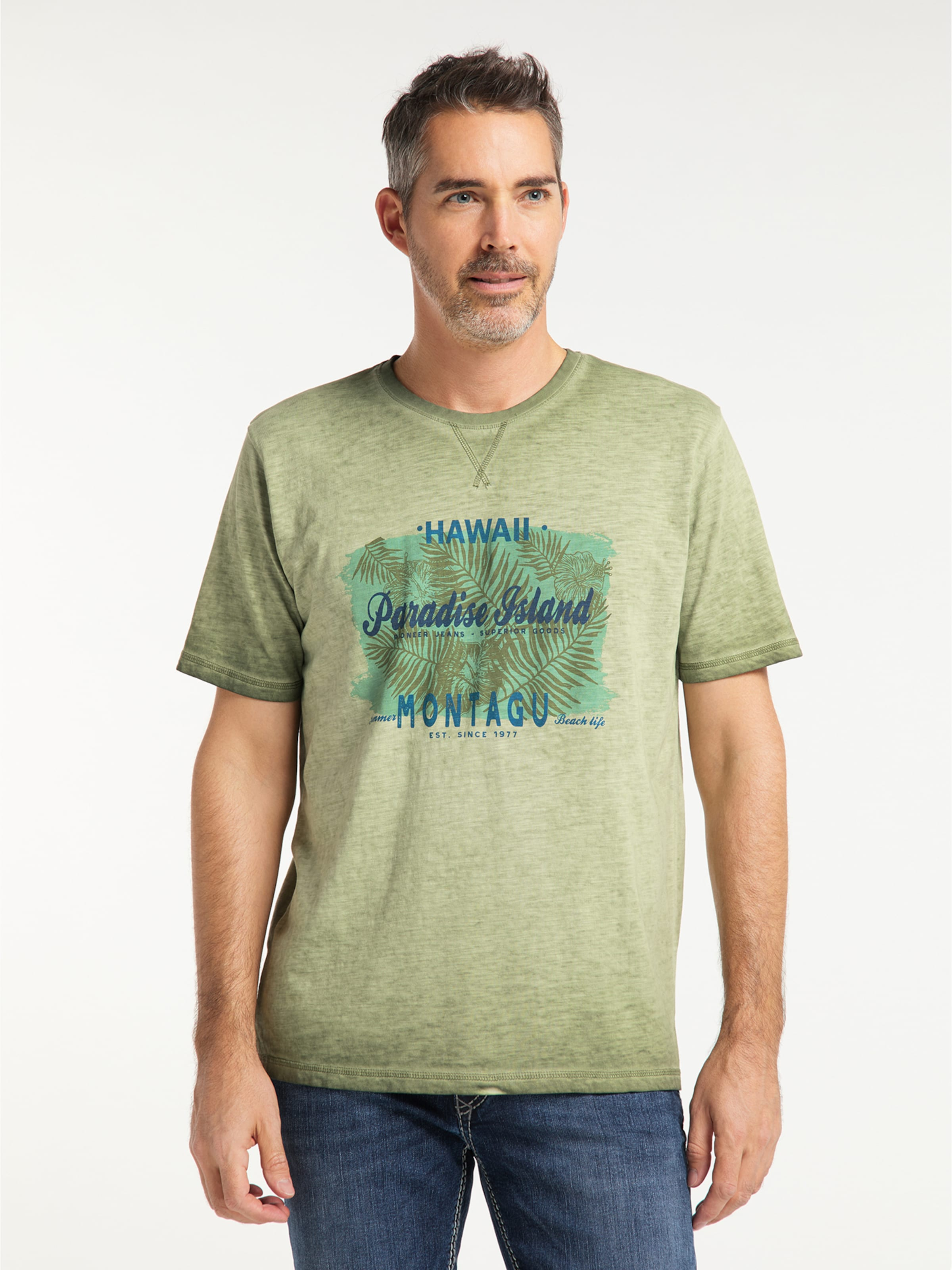 PIONEER T-Shirt in khaki Motivprint 04511/000/07316-638-L