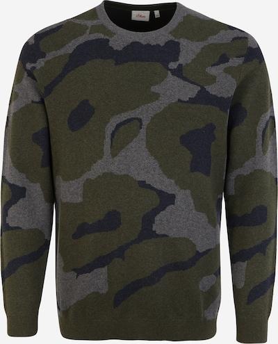 s.Oliver Pullover in dunkelblau / grau / khaki, Produktansicht