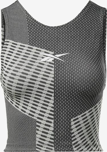 Sportiniai marškinėliai be rankovių iš REEBOK , spalva - pilka / juoda / balta, Prekių apžvalga