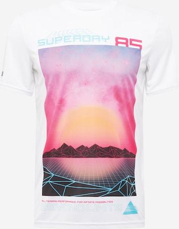 T-Shirt fonctionnel 'Beyond Limits' Superdry en blanc