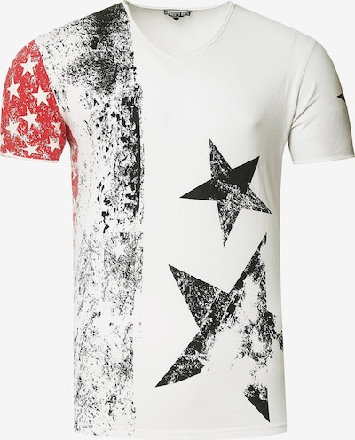 Rusty Neal Cooles T-Shirt mit V-Ausschnitt in weiß, Produktansicht
