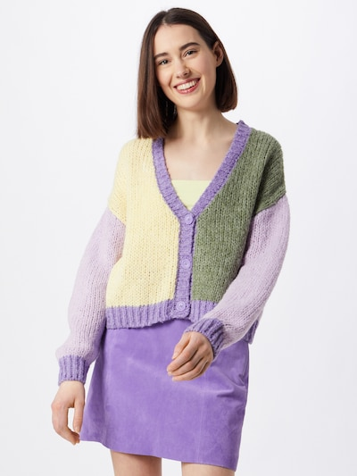 PIECES Knit cardigan 'PCCARA' in yellow / green / lilac, View model