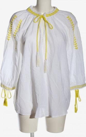 ZARA Langarm-Bluse in XS in pastellgelb / weiß: Frontalansicht