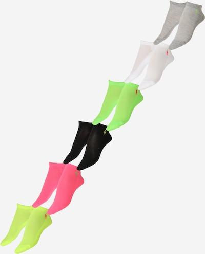 Kojinės 'CSHN' iš Polo Ralph Lauren, spalva – mėlyna / pilka / neoninė žalia / neoninė rožinė / balta, Prekių apžvalga