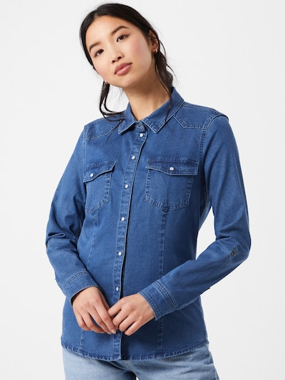 ONLY Bluse 'Rockit' in blue denim, Modelansicht