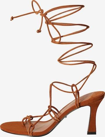 MANGO Sandały 'Min Tubo' w kolorze brązowy