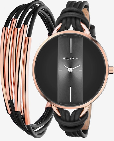 Elixa Quarzuhr 'Black and gold sensation' mit Armband in rosegold / schwarz, Produktansicht