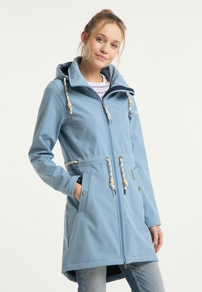 Schmuddelwedda Functionele mantel in de kleur Hemelsblauw, Modelweergave