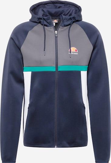 ELLESSE Sportsweatjacke in dunkelblau / dunkelgrau / jade / orange / weiß, Produktansicht