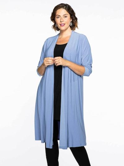 Yoek Knitted Coat 'Dolce' in Dusty blue, View model