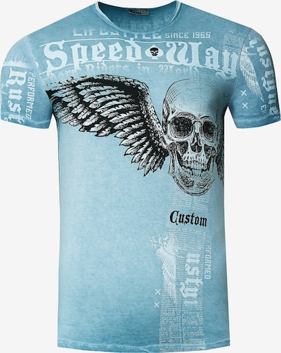 Rusty Neal T-Shirt mit 'Flying Skull' Front Print in petrol, Produktansicht