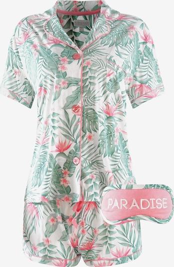 Pijama 'Pug Life' PJ Salvage pe verde deschis / roșu / alb, Vizualizare produs