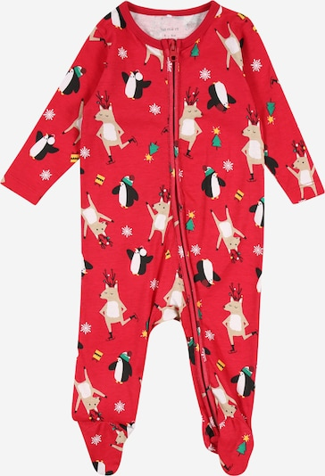 NAME IT Pijama 'RAINDINE' en verde / rojo / blanco, Vista del producto