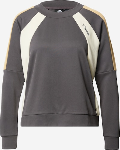 Hummel Sportief sweatshirt 'CHRISTY' in de kleur Stone grey / Wit, Productweergave