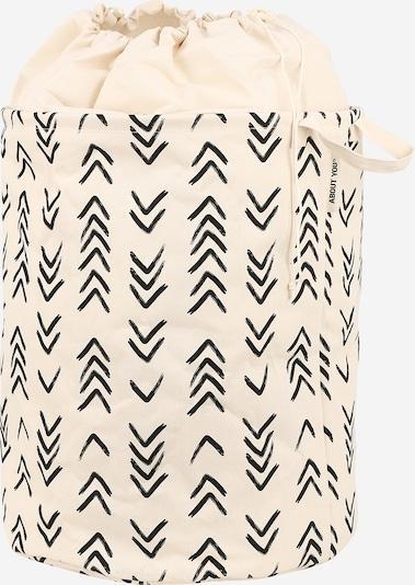 ABOUT YOU Wäschekorb  'Comfy L' (46 L x 46 B x 57 H) in beige / schwarz, Produktansicht