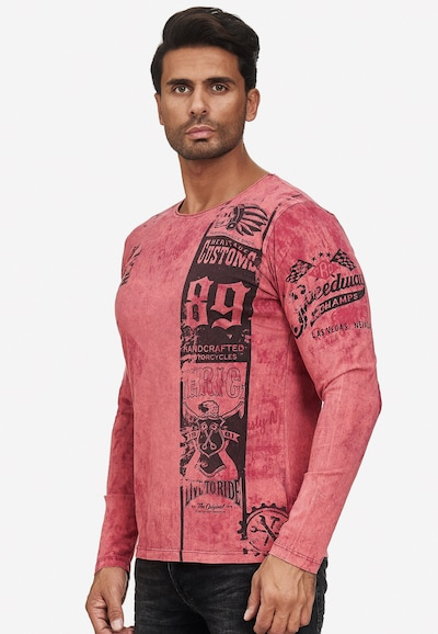 Rusty Neal Langarmshirt mit plakativem Front & Back Print in rot: Frontalansicht